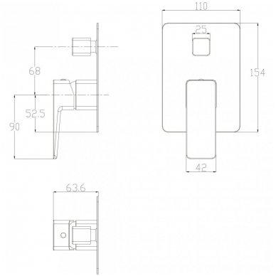 Juoda potinkinė dušo sistema Omnires SYSPM10 BL 7