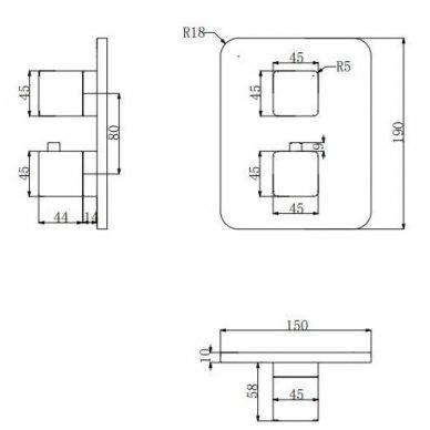Juoda potinkinė termostatinė dušo sistema Omnires SYS PM11 7