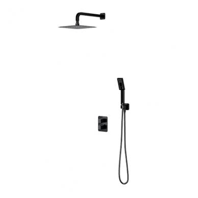 Juoda potinkinė termostatinė dušo sistema Omnires SYS PM11