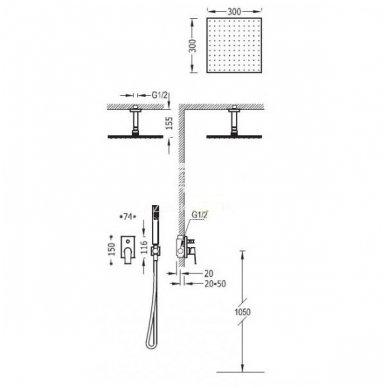 Juoda Tres Project potinkinė dušo sistema 21118080NM 2