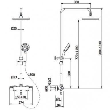 Juoda virštinkinė termostatinė dušo sistema Omnires Y 4