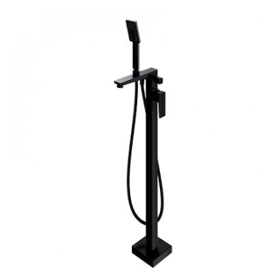 Juodas grindinis maišytuvas voniai su rankiniu dušu Omnires Parma