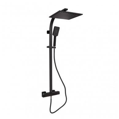 Juodos spalvos virštinkinė dušo sistema LATUS II su termostatiniu maišytuvu