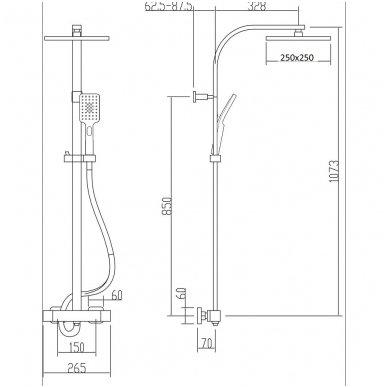 Juodos spalvos virštinkinė dušo sistema LATUS II su termostatiniu maišytuvu 2