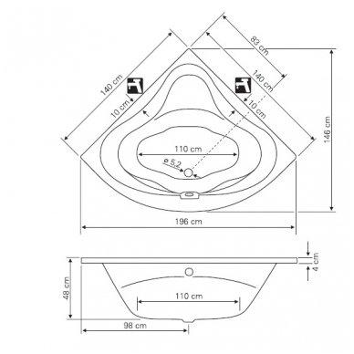 Kampinė vonia DUNAJ 140x140x48cm G1340 3