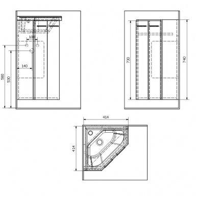 Kampinė vonios spintelė Zoja  41x41x74cm 5