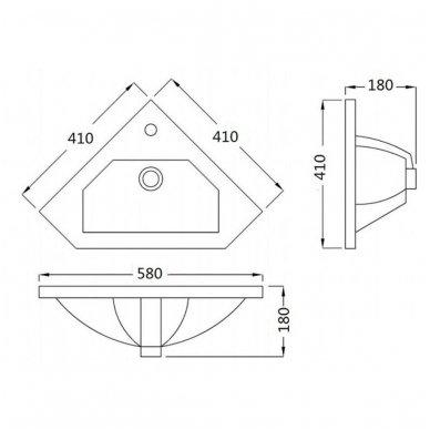 Kampinė vonios spintelė Zoja  41x41x74cm 6