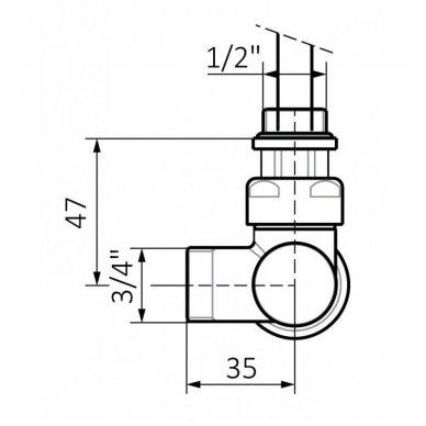 Kampinis termostatinis elementas VARIO TERM Unico, baltas 3