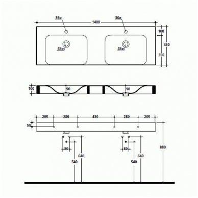 Kerasan Cento dvigubas praustuvas 140x45cm 2