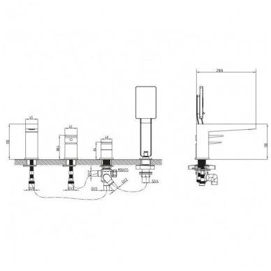 Keturių dalių vonios maišytuvas Omnires FRESH FR7132 2