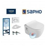 Komplektas WC rėmo Grohe Rapid SL 38981000 ir pakabinamo klozeto BRILLA Rimless su Slim lėtaeigiu dangčiu