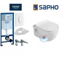Komplektas potinkinio WC rėmo Rapid SL 4in1 ir pakabinamo klozeto BRILLA Rimless su Slim lėtaeigiu dangčiu