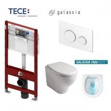 Komplektas: Tece potinkinis WC rėmas + Galassia Eden Rimless klozetas