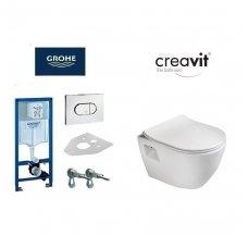 Komplektas WC rėmo Grohe Rapid SL 38981000 ir pakabinamo klozeto Creavit Paula su lėtaeigiu SLIM dangčiu