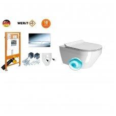 Komplektas WERIT JOMO potinkinis rėmas su mygtuku ir GSI KUBE SWIRLFLUSH Sieninis pakabinamas tualetas su lėtaeigiu dangčiu