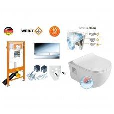 Komplektas WERIT potinkinis rėmas su mygtuku + BRILLA Rimless pakabinamas wc su lėtaeigiu dangčiu
