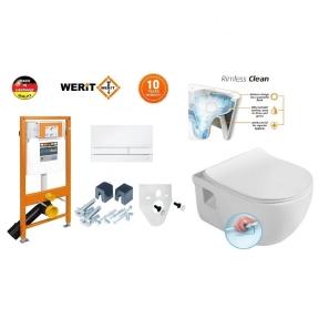 Komplektas WERIT potinkinis rėmas su mygtuku + BRILLA Rimless pakabinamas wc su lėtaeigiu dangči