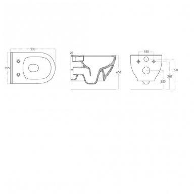 Komplektas potinkinio WC rėmo Rapid SL 4in1 ir pakabinamo klozeto BRILLA Rimless su Slim lėtaeigiu dangčiu 12