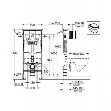 Komplektas potinkinio WC rėmo Rapid SL 4in1 ir pakabinamo klozeto BRILLA Rimless su Slim lėtaeigiu dangčiu 3