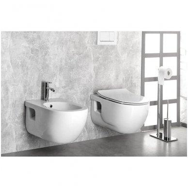 Komplektas potinkinio WC rėmo Rapid SL 4in1 ir pakabinamo klozeto BRILLA Rimless su Slim lėtaeigiu dangčiu 11