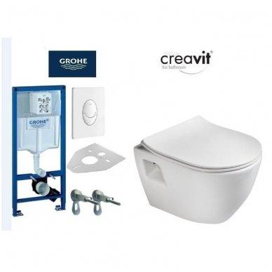 Komplektas potinkinio WC rėmo Rapid SL 4in1 ir pakabinamo klozeto Creavit Paula su lėtaeigiu SLIM dangčiu