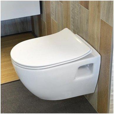 Komplektas potinkinio WC rėmo Rapid SL 4in1 ir pakabinamo klozeto Creavit Paula su lėtaeigiu SLIM dangčiu 9