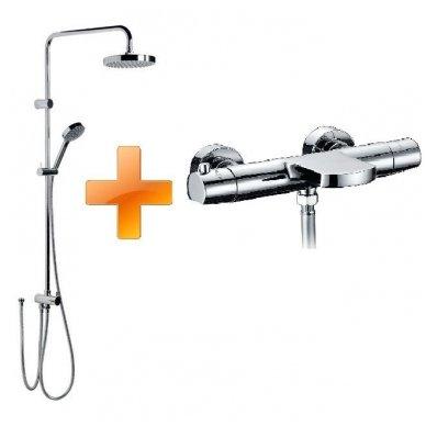 Komplektas: termostatinis vonios maišytuvas Kimura su Mist dušo stovu