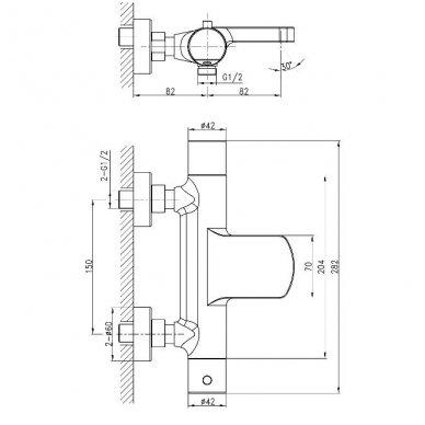 Komplektas: termostatinis vonios maišytuvas Kimura su Mist dušo stovu 10