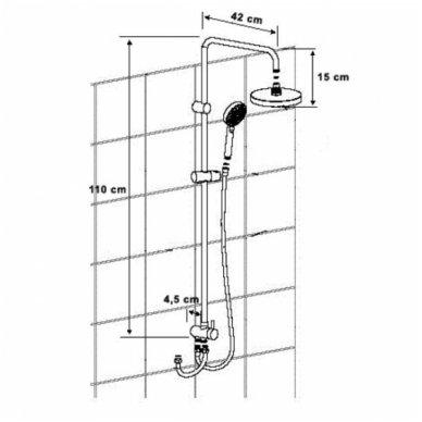 Komplektas: termostatinis vonios maišytuvas Kimura su Mist dušo stovu 11