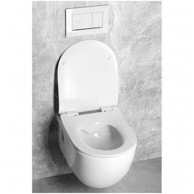 Komplektas WC rėmo Grohe Rapid SL 38981000 ir pakabinamo klozeto BRILLA Rimless su Slim lėtaeigiu dangčiu 10