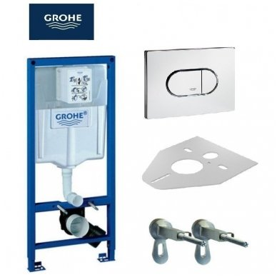 Komplektas WC rėmo Grohe Rapid SL 38981000 ir pakabinamo klozeto Creavit Paula su lėtaeigiu SLIM dangčiu 2