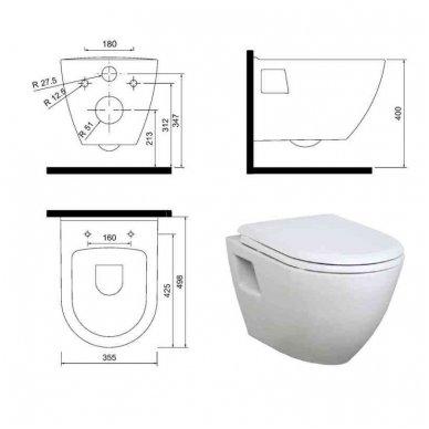 Komplektas WC rėmo Grohe Rapid SL 38981000 ir pakabinamo klozeto Creavit Paula su lėtaeigiu SLIM dangčiu 9
