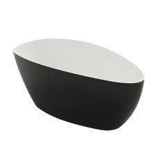 Laisvai pastatoma lieto marmuro vonia Omnires Marble+ Barclona 156 CP, juoda išorė