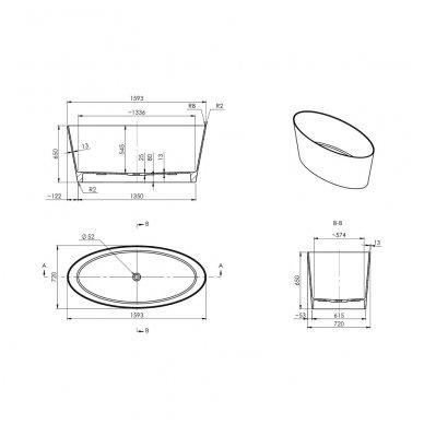 Laisvai pastatoma lieto marmuro vonia Omnires Marble+ Roma 159 CP 3