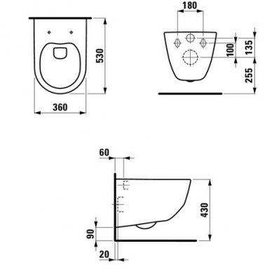 Laufen WC rėmo ir unitazo Pro Rimless komplektas 6