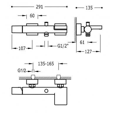Juodas vonios maišytuvas Tres Project 21117001NM 3