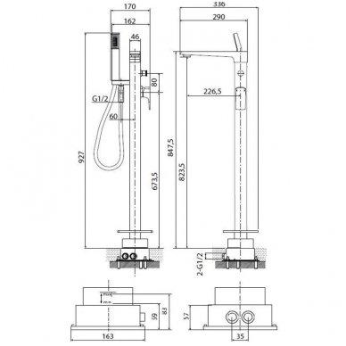Maišytuvas voniai montuojamas į grindis Optima gamintojo OPBVANBAT002 3