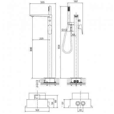 Maišytuvas voniai montuojamas į grindis Optima gamintojo OPBVANBAT003 5