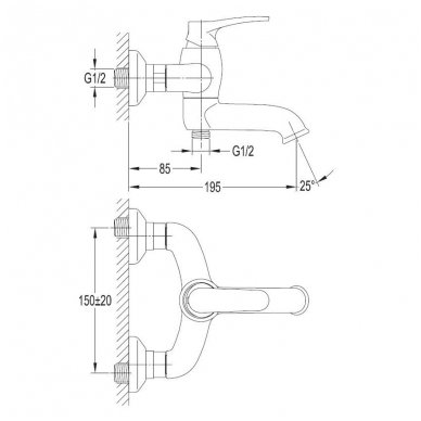 Maišytuvas voniai su dušo komplektu Omnires Art Deco Bronzinis 2
