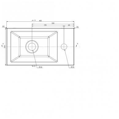 Mažas AMAROK praustuvas 40x11x22c, dešininis 8