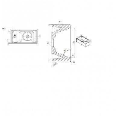Mažas AMAROK praustuvas 40x11x22c, dešininis 7