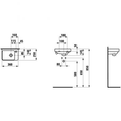 Mažas praustuvas, asimetrinis Laufen Pro S 2