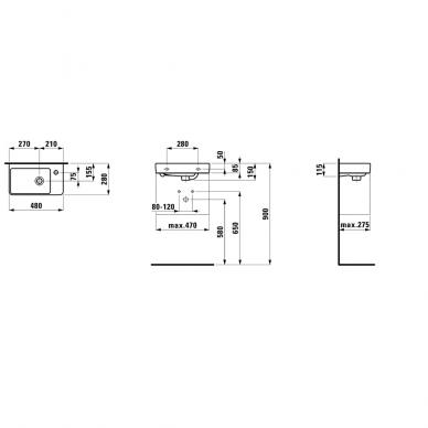 Mažas praustuvas, asimterinis, dešininis Laufen Pro S 2