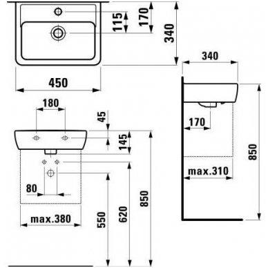 Mažas praustuvas Laufen Pro A 45x34 2