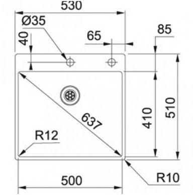 Nerūdijančio plieno plautuvė FRANKE BOX BXX 210-50 A su integruotu ventiliu 2