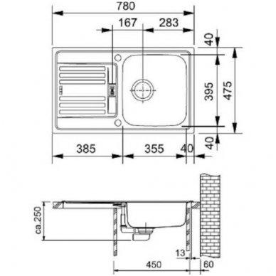 Nerūdijančio plieno plautuvė Franke EFN 614-78 2