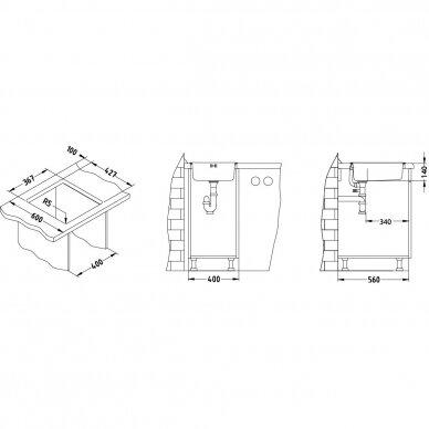 Nerūdijančio plieno virtuvinė plautuvė Alveus Basic 10, lininis paviršius 3