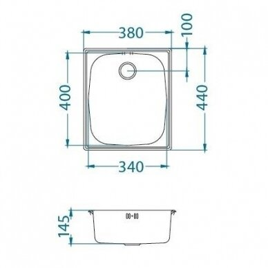 Nerūdijančio plieno virtuvinė plautuvė Alveus Basic 10, lininis paviršius 4