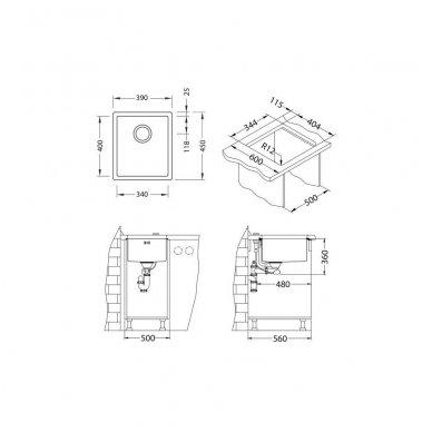 Nerūdijančio Plieno Virtuvinė Plautuvė ALVEUS Quadrix 20 Antracitas 2