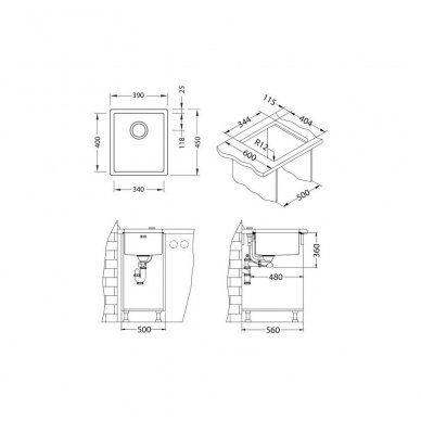 Nerūdijančio Plieno Virtuvinė Plautuvė ALVEUS Quadrix 20 Auksas 2